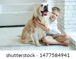 Stock photo a child with a dog beautiful boy at home with a dog 1477584941