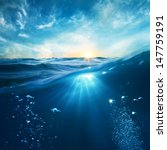 design template with underwater ... | Shutterstock . vector #147759191