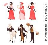 fashioned retro victorian lady... | Shutterstock .eps vector #1477598774