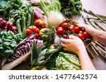 Different Fresh Vegetables And...
