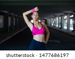 young sporty woman training.... | Shutterstock . vector #1477686197