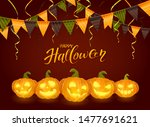 lettering happy halloween with... | Shutterstock . vector #1477691621