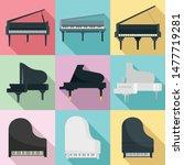 Grand Piano Icons Set. Flat Se...
