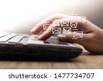 business woman hand using laptop | Shutterstock . vector #1477734707