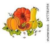 pumpkins set different colors... | Shutterstock .eps vector #1477781954