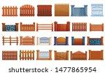 rural gate icons set. cartoon...   Shutterstock .eps vector #1477865954