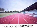 red treadmill at the stadium. | Shutterstock . vector #147786695