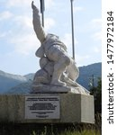 Small photo of 24th of July 2019 - Marble sculpture in the Honor and Dishonor Park, Vagli Sotto, Italy