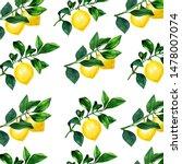 lemon on a branch seamless... | Shutterstock . vector #1478007074