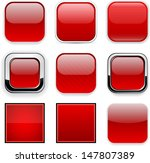 set of blank red square buttons ... | Shutterstock .eps vector #147807389