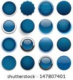 set of blank dark blue round... | Shutterstock .eps vector #147807401