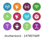 radio tower circle icons on... | Shutterstock .eps vector #147807689