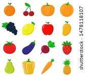 fruits and vegetables 2d vector | Shutterstock .eps vector #1478118107