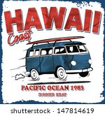 surfer bus retro vector print. | Shutterstock .eps vector #147814619