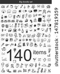 big doodle set   140 items   Shutterstock .eps vector #147819359