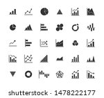 business graph solid icon set