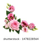 Pink roses and eustoma flowers...
