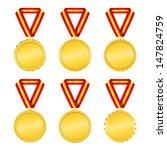 set of golden medals with... | Shutterstock .eps vector #147824759