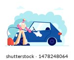 Car Wash Service Worker Wearing Uniform Lathering Automobile with Sponge and Pouring with Water Jet from High Pressure Washer. Cleaning Company Employee Work Process. Cartoon Flat Vector Illustration - stock vector