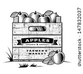retro crate of apples black and ... | Shutterstock . vector #147832037
