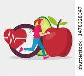 woman running with timer  heart ... | Shutterstock .eps vector #1478328347