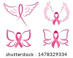 set of pink ribbons with wings. ...