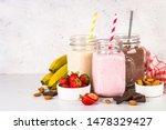 Set Of Milkshake In Mason Jars...