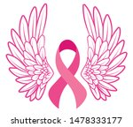 pink ribbon with angel wings.... | Shutterstock .eps vector #1478333177