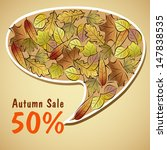autumn sale poster with leaves... | Shutterstock .eps vector #147838535