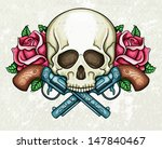 skull  crossed guns and roses | Shutterstock .eps vector #147840467