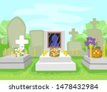 illustration of  tombs in a... | Shutterstock .eps vector #1478432984