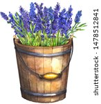 Wooden Bucket With Lavender....