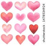 set of watercolor hearts...   Shutterstock . vector #1478534924