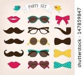 retro party set | Shutterstock .eps vector #147859847