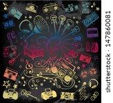 hand drawn music equipment  | Shutterstock .eps vector #147860081