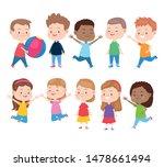 kids having fun and smiling... | Shutterstock .eps vector #1478661494