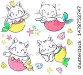 Stock vector hand drawn set kitten mermaid and shell fantasy cute cat vector illustration print design for 1478753747