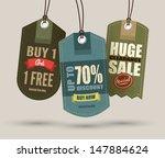 vintage style sale tags design   Shutterstock .eps vector #147884624