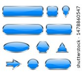 blue 3d icons. glass shiny... | Shutterstock .eps vector #1478860547