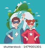 two cute children super heroes. ...   Shutterstock .eps vector #1479001301