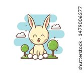 Stock vector sweet rabbit with tree and cloud character vector illustration eps 1479006377