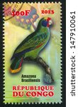 Small photo of CONGO - CIRCA 2013: stamp printed by Congo, shows parrot, amazona brasiliensis, circa 2013