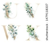floral alphabet  letters with...   Shutterstock . vector #1479118337