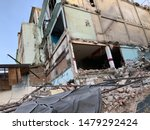 Small photo of Demolish old building pull down