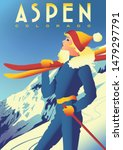 travel poster of aspen ... | Shutterstock .eps vector #1479297791