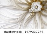 3d golden mural wallpaper decoration Abstract fractal fantastic flower  brwon and silver background