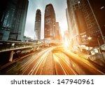 Traffic In Hong Kong At Sunset...