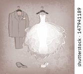 bride dress and groom's suit on ... | Shutterstock .eps vector #147941189
