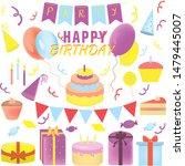 birthday illustration set print ... | Shutterstock . vector #1479445007