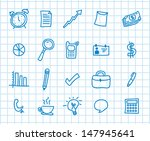 business icons over leaf grid... | Shutterstock .eps vector #147945641